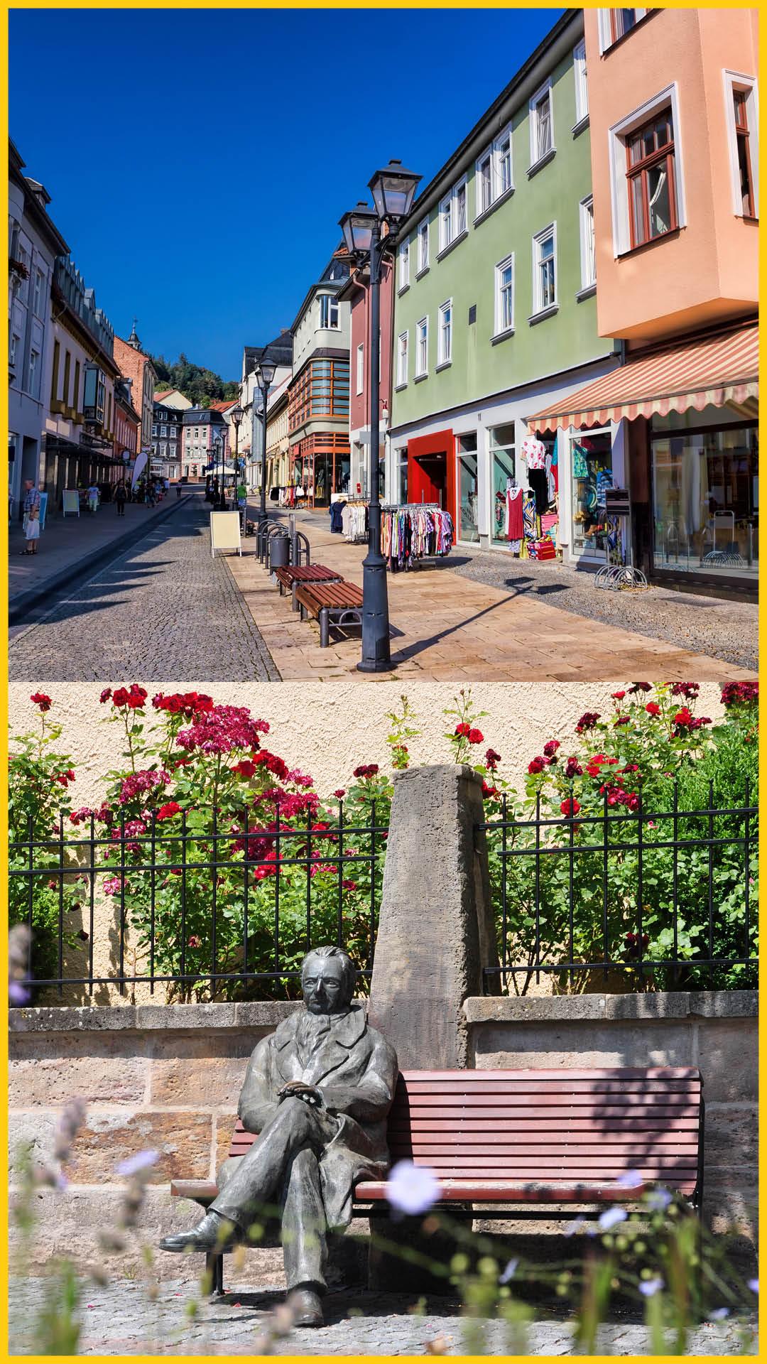 Bild oben: Einkaufsstraße mit Geschäften in der Innenstadt von Imenau, Bild unten: Goethedenkmal aus Bronze, Ilmtalradweg durchgeführt vom Werra Bikes