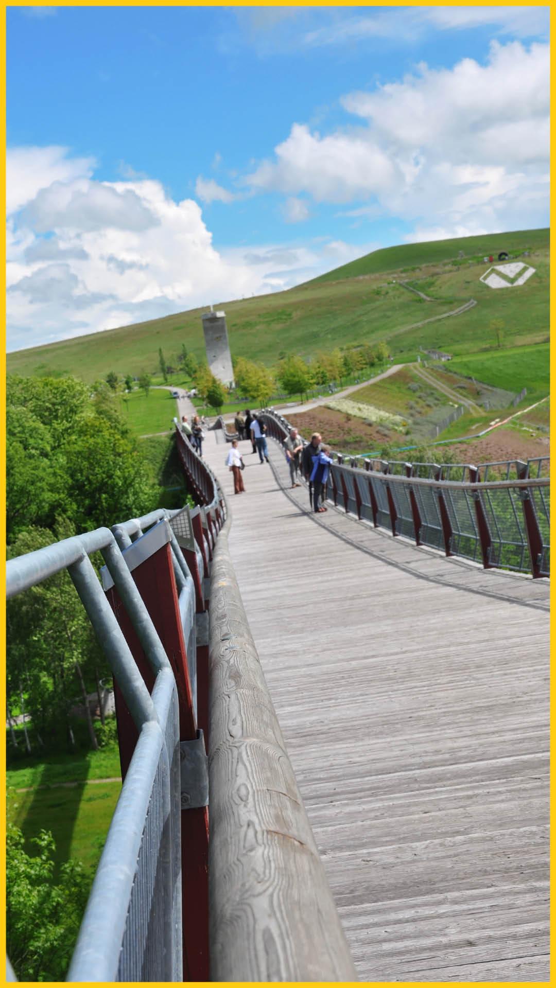 Blick über die 225 m lange Drachenschwanzbrücke in Ronneburg auf die grünen Wiesen entlang dem Radweg Thüringer Städtekette durchgeführt vom Werra Bikes