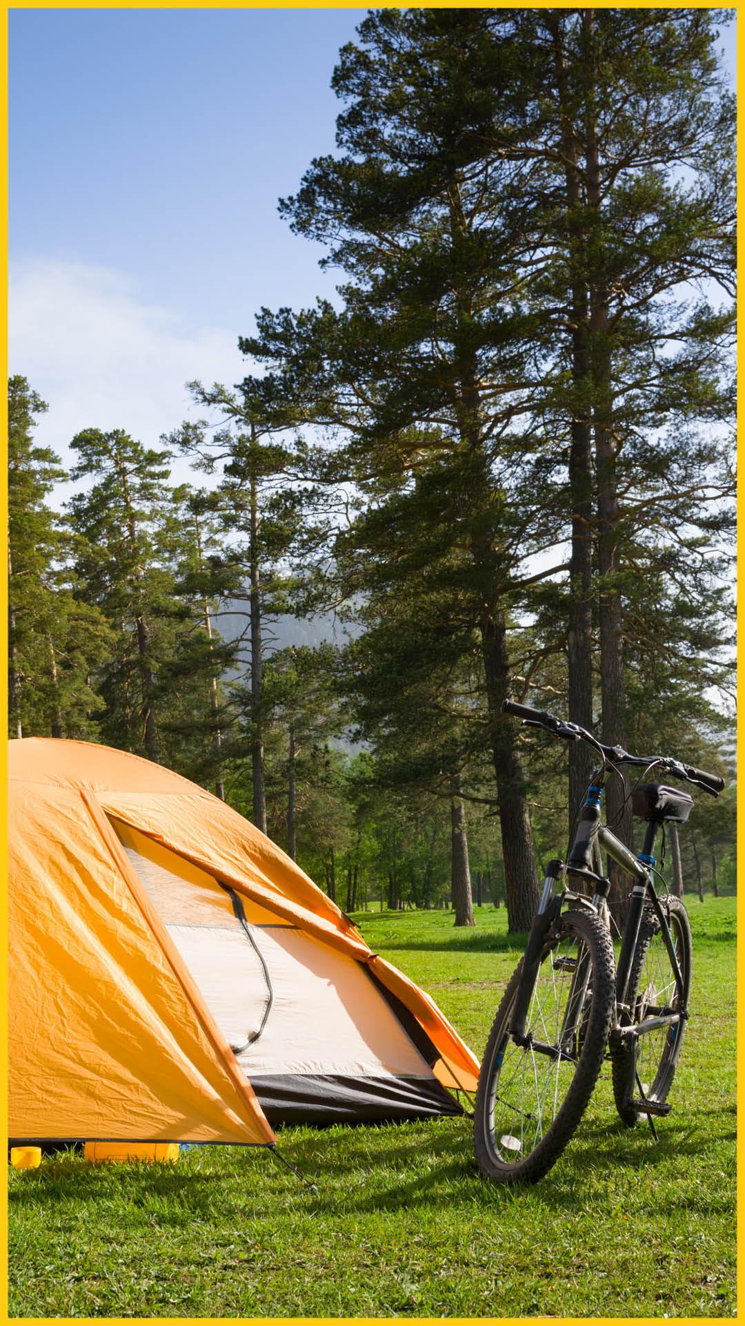 Orangefarbenes Zelt mit zwei Fahrrädern davor und Bäumen im Hintergrund auf dem Radweg Thüringer Städtekette durchgeführt vom Werra Bikes