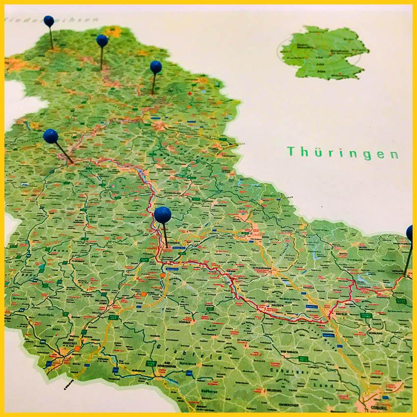 Kartenauschnitt von Thüringen, Hessen und Niedersachen mit Pins zur Tourenplanung des Werratal Radweg durchgeführt vom Werra Bikes