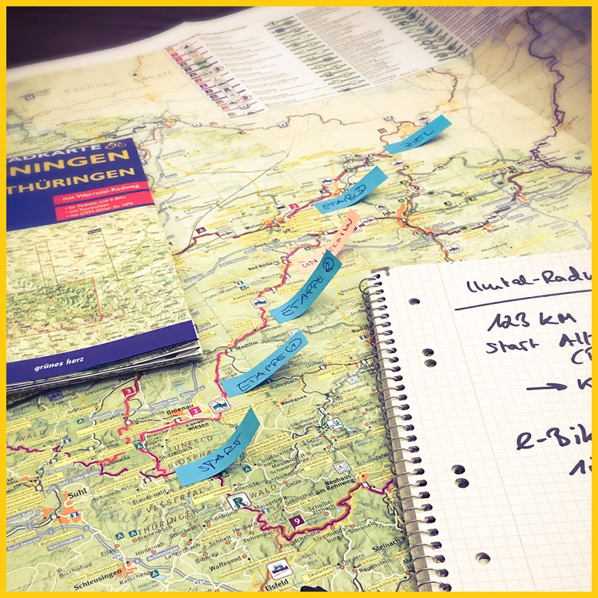 Thüringenkarte mit Etappenzielen und Notizen zur Tourenplanung vom Ilmtalradweg durchgeführt vom Werra Bikes