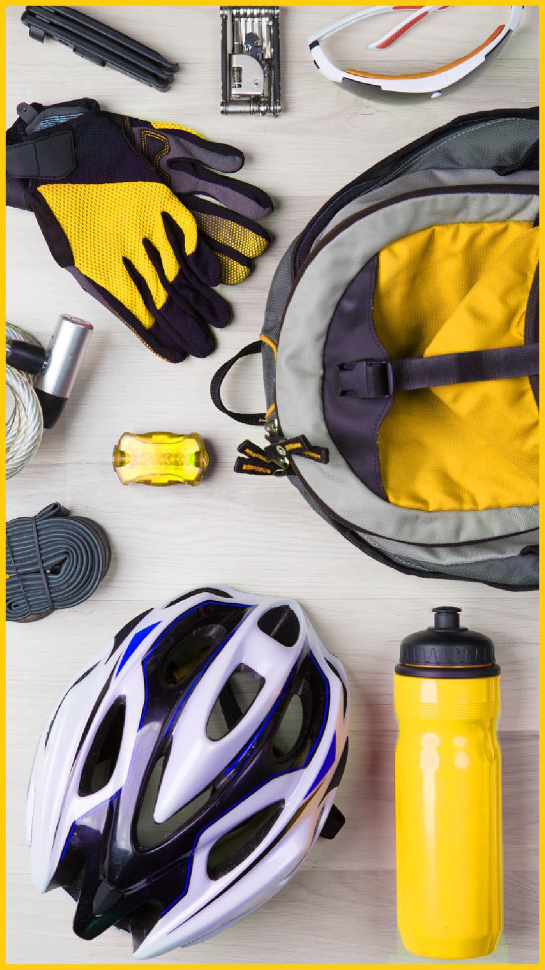 Fahrradzubehör für den Ilmtalradweg durchgeführt vom Werra Bikes, wie Helm, Fahrradflasche, Rücklicht, Rucksack, Fahrradhandschuhe, Sonnenbrille, Sicherheitsschloss, Werkzeugtool