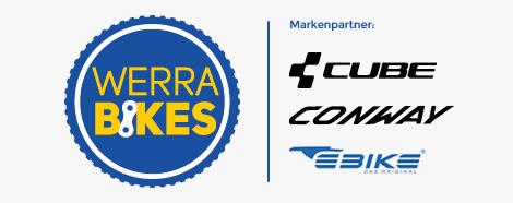 Logo Werra Bikes Hildburghausen mit den Markenpartnern Scott und Cube